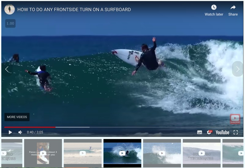 Online surf course videos