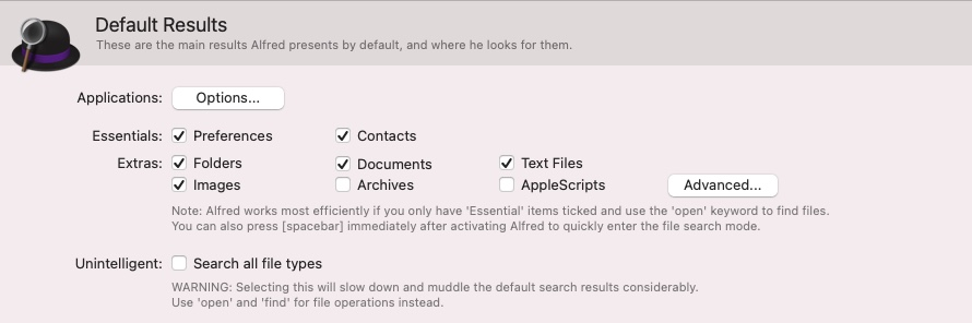 setting alfred to search folders on mac