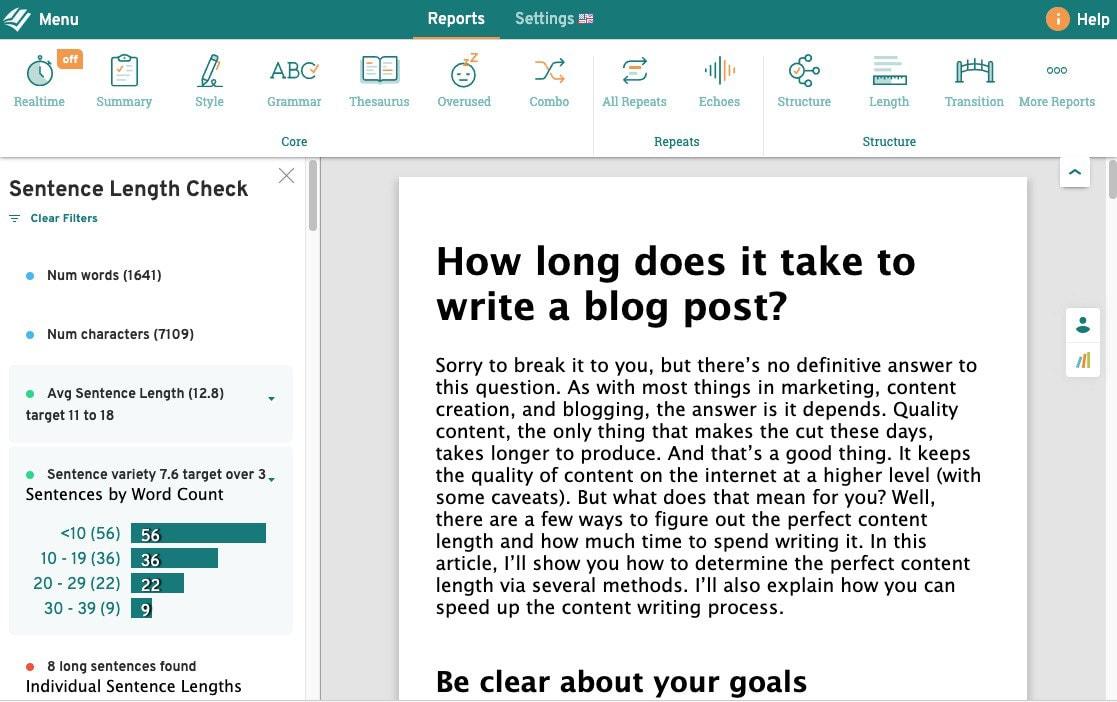prowritingaid sentence length tool